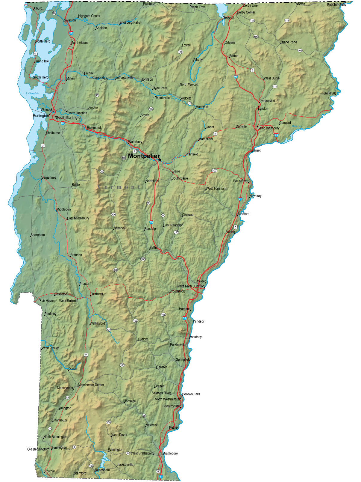 Detailed Vermont Map  VT Terrain Map